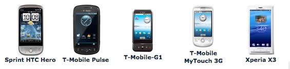 Android Spy Software Supported Android Phones (Sprint HTC Hero, T-Mobile Pulse, T-Mobile G1, T-Mobile MyTouch 3G, Xperia X3)